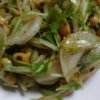 スプーンで食べる・新たまねぎと水菜のサラダ