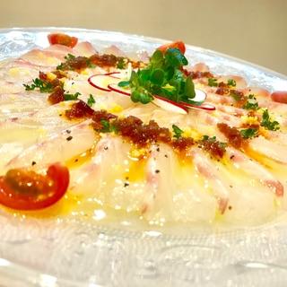 食べるラー油で真鯛のカルパッチョ