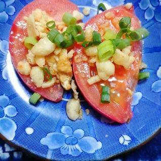 天かすとネギの麺つゆかけトマト