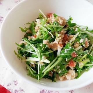 レンジで簡単♪鳥そぼろと水菜のヘルシーサラダ