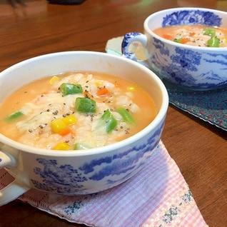ひるずの具材たっぷり!簡単トマトスープのリゾット風