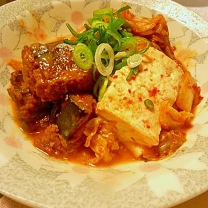 味付けなしの手抜き料理、さば味噌煮缶のキムチ豆腐