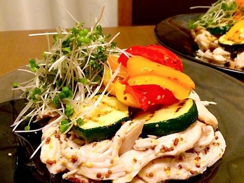 蒸し鶏とグリル野菜*ハニーマスタードマリネ