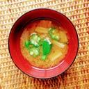 オクラとえのきの味噌汁