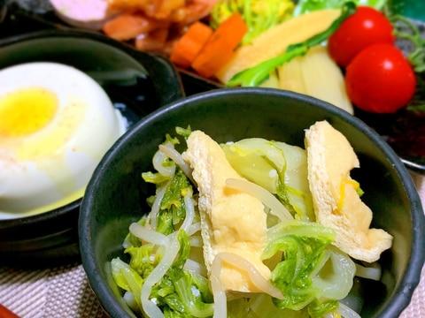 京あげと白菜ともやしの薄炊き