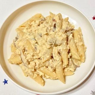 しいたけと豆腐の味噌クリーミーパスタ