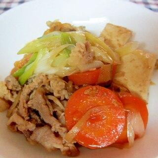 長ネギ、ゴボウ、しめじの醤油麹肉豆腐