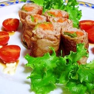 彩り野菜の豚肉重ね巻き