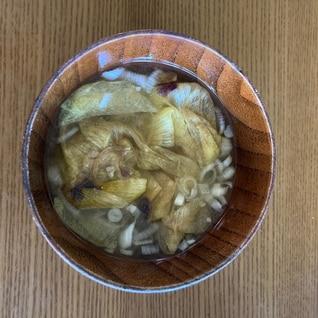 花オクラの味噌汁