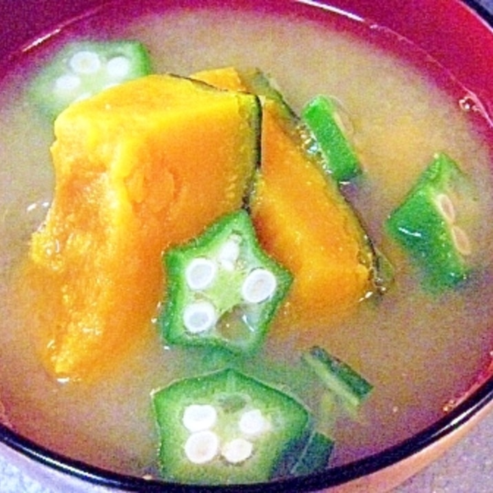 南瓜とオクラのお味噌汁