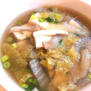 マイタケ・白菜・お豆腐の簡単中華スープ