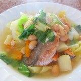 鮭と大豆とキャベツの具沢山スープ