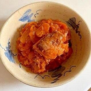 鯖水煮缶と玉ねぎの ケチャップ炒め