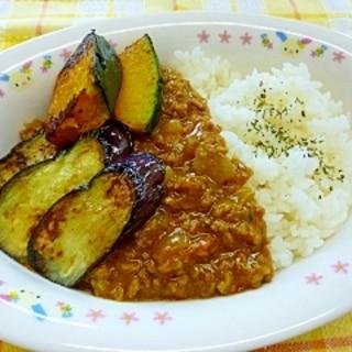 夏のキーマカレー☆なすとかぼちゃの焼き野菜添え