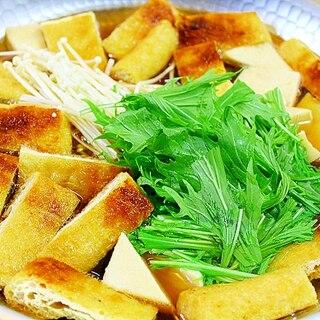 油揚げと水菜と豆腐の鍋