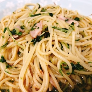 ベーコンと水菜のペペロンチーノ
