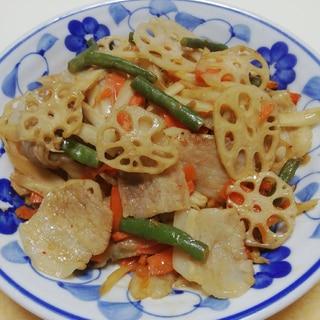 豚肉と根菜のニンニク生姜炒め
