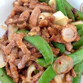 スナップエンドウと牛バラ肉の炒め物