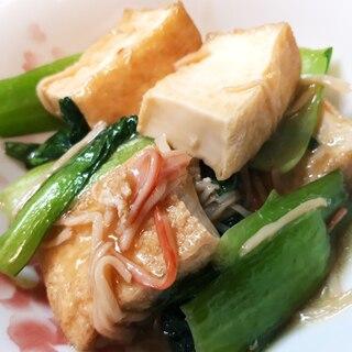 チンゲン菜と厚揚げとカニかまのめんつゆ餡掛け
