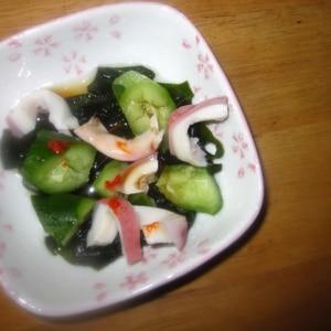タコときゅうりとあおさ(ワカメ)の甘辛酢の物
