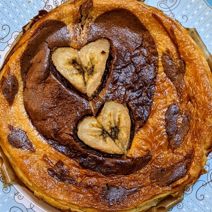 チョコバナナ風味♡ハートのベイクドチーズケーキ