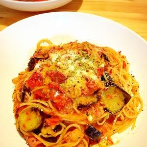 【簡単絶品♪】たっぷりナスとトマトのパスタ