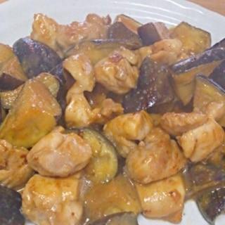ナスと鶏肉の味噌炒め