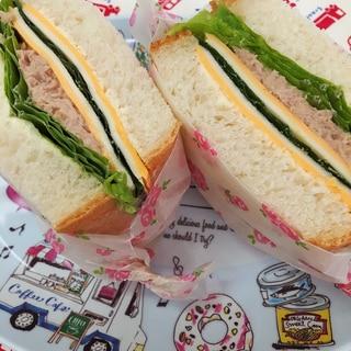 萌え断♫和風ツナマヨ×シマシマチーズのサンドイッチ