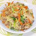 ご飯が進む!人参と小松菜と合挽肉のキムチ炒め