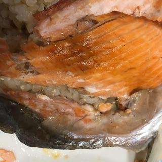 鮭のアラを使って、鮭の味付けご飯!