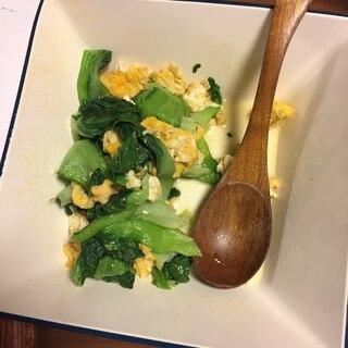 あっさりチンゲンサイと卵炒め物
