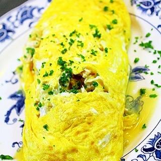 鶏ミンチと玉葱のオムレツ