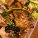 春菊と豚こま肉の甘辛炒め