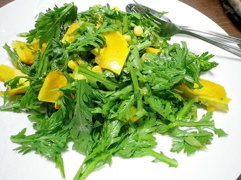 春菊とかぼちゃのサラダ