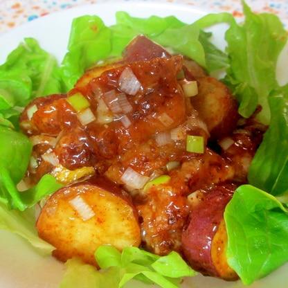 鶏肉とサツマイモのピリ辛甘酢炒め