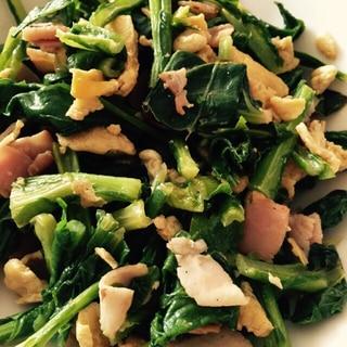 小松菜と卵のベーコン炒め