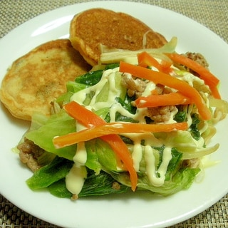 レタスの外葉とひき肉の炒めサラダ&大豆粉パンケーキ