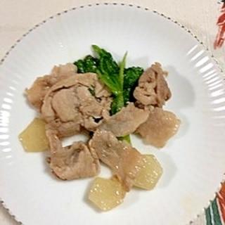 豚肩ロース、ヤーコン、わさび菜の炒め物
