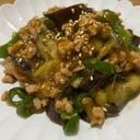 ピリ辛☆焼肉のタレで豚そぼろとナスのピーマン炒め