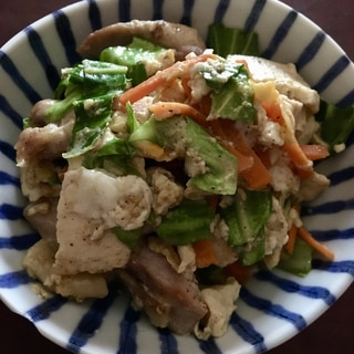 肉野菜炒めの卵とじ