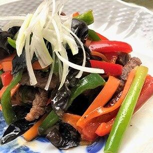 都城産・宮崎牛と5色野菜の韓国風甘辛ソース炒め