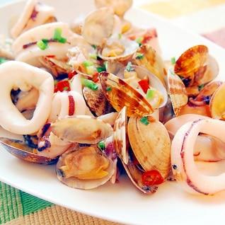 イカとアサリのペペロン炒め