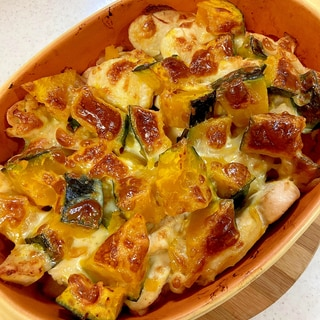【ハロウィン】かぼちゃと鶏むね肉の♪チーズ焼き♪