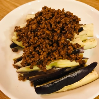 ダイズラボの大豆のお肉で!ナスの生姜肉味噌かけ