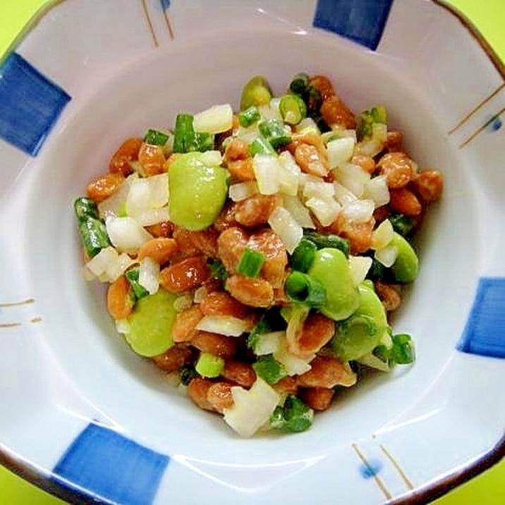 枝豆と新玉ねぎ万能ねぎの納豆