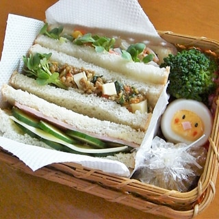 こどものお弁当★サンドイッチ&ひよこ玉子