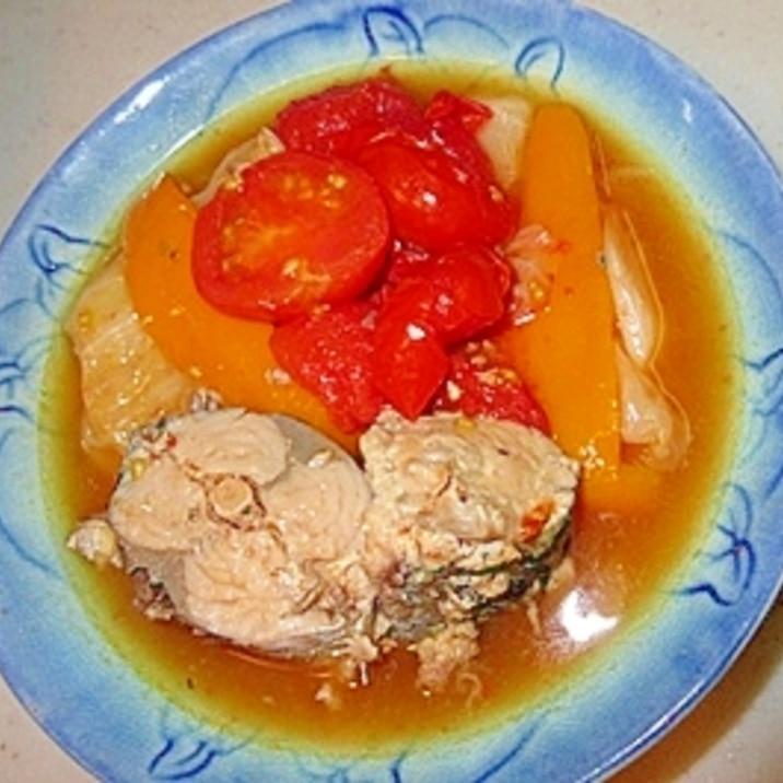 お手軽な鯖水煮缶で♪キャベツとトマトのスープ