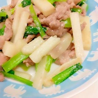 簡単ヘルシー(^^)豚肉+小松菜+長芋の塩麹炒め♪