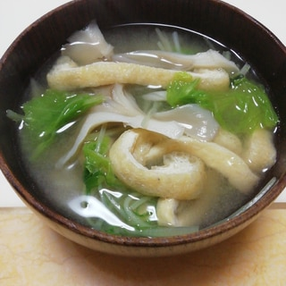 白菜と水菜とまいたけと油揚げの麦味噌汁