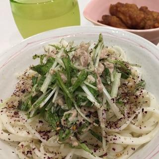 簡単おいしい✩水菜とツナのサラダうどん